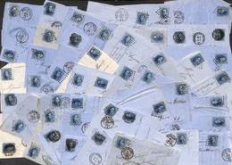 Lot Pour étude : 91 Plis Fragments Vingt Cent 20 Ct Dentelé ...... Voir Zie See Scans, Avec Annotations, Variété Losange - Belgique