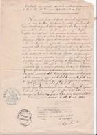 Ancien Extrait Registre Acte Civil Naissance Limoux Aude Famille Fabia Et Fouix 1883  Original - Cachets Généralité