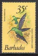 BARBADOS - 1979 35c GREEN-THROATED CARIB BIRD DEFINITIVE WMK W14 S/W MNH ** SG 631 - Barbades (1966-...)