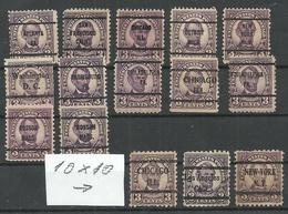 USA 1923/27 PRE-CANCEL Lot, 15 Exemplares, Michel 264, A. Lincoln, Different Perfs - Precancels