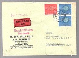 Bahnpoststempel Eilboten Europa Willy Huss Schenkel Ingolstadt > München (B7-25) - [7] République Fédérale