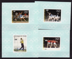 Niger, 1983 Summer Olympics, 4 Lux Blocks Imperforated - Summer 1984: Los Angeles