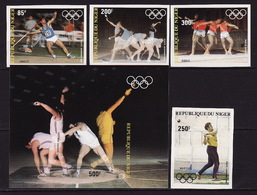 Niger, 1983 Summer Olympics, 4 Stamps + Block  Imperforated - Summer 1984: Los Angeles