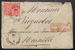 "1 Piastra, Front Letter From Cairo ""Poste Egiziane"" 1879 To France (Marseille) + Paquebots De La Mediterranee - Egitto"