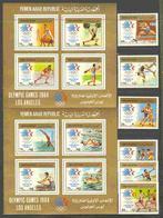 North Yemen, 1985, Summer Olympic Games, 6 Stamps +2 Blocks - Summer 1984: Los Angeles