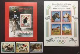 South Yemen, Horses, Olympic 1984,3 Stamps+ 2 Blocks - Summer 1984: Los Angeles