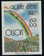 Rare // Etiquette De Vin // Musique // Ollon, Chorale Avenir Prilly, Vin Du Centenaire - Musique