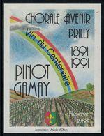 Rare // Etiquette De Vin // Musique // Pinot-Gamay, Chorale Avenir Prilly, Vin Du Centenaire - Musique