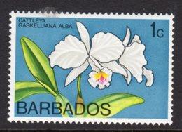 BARBADOS - 1974 1c ORCHID STAMP WMK W12 UPRIGHT FINE MNH ** SG 485 - Barbados (1966-...)