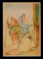 "Noel 1942 Christmas Fêtes Peinteur Postal Stationery Portugal ""escape To Egypt On A Donkey"" #9863 - Noël"