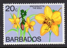 BARBADOS - 1974 20c ORCHID STAMP WMK W12 UPRIGHT FINE MNH ** SG 493b - Barbades (1966-...)