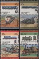 ST.VINCENT GRENADINES 1985 SPECIMEN Railway Vapor Trains Locomotives Ser.IV Se-tenant PAIRS:6 (12 Stamps) - St.Vincent & Grenadines