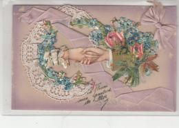 CPA- Très Jolie Carte - Que Ces Fleurs Vous Parlent De Moi-Vive St NICOLAS- Cordon Et Noeud De Satin-2scans TBE - Saint-Nicolas