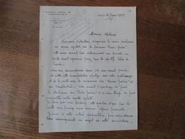 PARIS ASSOCIATION SPORTIVE DE L'ALIMENTATION DU 14e 121 AVENUE D'ORLEANS COURRIER DU 20 JUIN 1939 M. PECQUEUR SECRETAIRE - Manuscrits