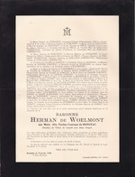 SOIRON Marie Alix Comtesse Du MONCEAU Baronne Herman De WOELMONT 1872-1938 Faire-part Mortuaire - Obituary Notices