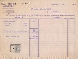 1924: Facture De ## Victor CORNEZ, Agent De Change, Rue Royale, 43, BXL. ## à ## Mr. Adhémar BROUEZ, WASMES ## - Banque & Assurance
