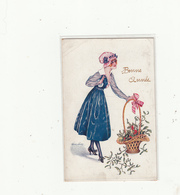 CPA- BONNE ANNEE -Jeune Fille Gracieuse Avec Son Panier Houx-1920 (les Ménagères, Signé X.Sager)2scans - Nouvel An
