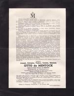 OOSTKAMP SAINT-ANDRE Joseph OTTO De MENTOCK époux De PIERPONT Bourgmestre De PROFONDEVILLE 1889-1955 WALGRAPPE - Obituary Notices
