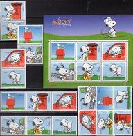 Snoopy 2000 Portugal 2461/6,ZD+Block 165 ** 35€ Postauto Brief Comic Ss Bloc Art Se-tenants Painting Bf Philatelics - Puppen