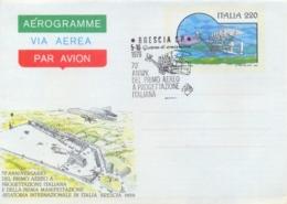 Italia 1979 FDC Intero Postale Aerogramma 220 Lire 70° Anniversario Primo Aereo A Progettazione Italiana - Aerei