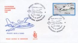 Italia 1982 FDC Venetia Costruzioni Aeronautiche Italiane Aereo Piaggio 166 DL 3 Turbo Annullo Di Genova Sestri Ponente - Aerei