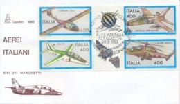 Italia 1983 FDC Capitolium Costruzioni Aeronautiche Italiane Blocco Con Bandelle Annullo Di Torino - Aerei
