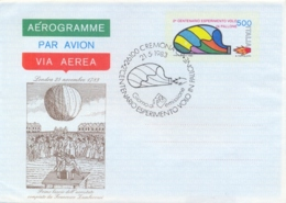 Italia 1983 FDC Intero Postale Aerogramma 500 Lire 200° Anniversario Del Primo Esperimento Di Volo In Pallone - Mongolfiere