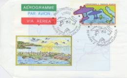 Italia 1983 FDC Intero Postale Aerogramma 500 Lire 50° Anniversario 2° Trasvolata Atlantica Annullo Di Orbetello - Aerei