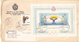 San Marino 1984  - FDC AASFN Olimpiadi Los Angeles Motocross.RACCOMANDATA First Day Cover. - FDC