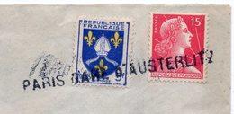 """Griffe Linéaire Ou Horizontale """"PARIS GARE D'AUSTERLITZ"""" Sur Lettre Pour La Celle D'Auvergne-63 Près Giat Et St Avit - Marcophilie (Lettres)"""