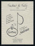 Rare // Etiquette De Vin // Musique // Fendant De Fully,33ème Fête Des Concerts Des Sociétés De Chant Du Bas-Valais - Musique