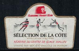 Rare // Etiquette De Vin // Hockey Sur Glace //Perroy, Réserve Du Centre De Glace De Malley, Lausanne HC - Etiquettes