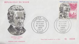 Enveloppe  FDC   1er   Jour   NIGER   125éme  Anniversaire  De  La  Mort  De   Frédéric  CHOPIN   1974 - Musique