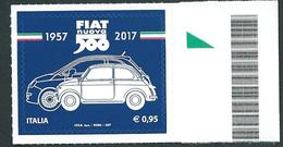Italia, Italy 2017; Fiat Nuova 500, Nel 60° Della Produzione. Francobollo Di Bordo. Nuovo. - Voitures