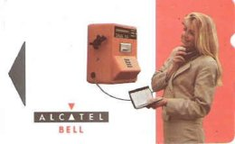 ALCATEL : AB20 30u Telephone+woman (red) USED - Belgium