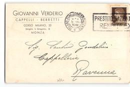 11825 MONZA VERDERIO CAPPELLI BERRETTI X RAVENNA - 1900-44 Victor Emmanuel III
