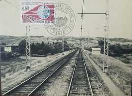 O) 1966 FRANCE, INTERNATIONAL RAILROAD CONGRESS-TRACKS-GLOBE AND EIFFEL TOWER, MAXIMUM CARD XF - 1960-69