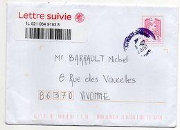2018--Lettre Suivie Avec Vignette Adhésive Marianne Ciappa Kavena Lettre Suivie--cachet Rond - Marcophilie (Lettres)