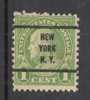 USA Franklin LIGHT GREEN 1 C. Pre-canceled Stamp New York, NY - Etats-Unis