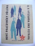 Czechoslovakia Matchbox Label 1964 - Ostrava And Karvina Mines Hire New Employees - Boites D'allumettes - Etiquettes