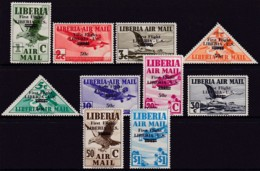 Liberia 1942 Airmail Ovpt Sc C27-36 Mint Hinged - Liberia