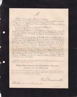ABBEVILLE Marie-Alexandrine De PANEVINON De MARSART Comtesse Du MAISNIEL 72 Ans 1891 Lettre Mortuaire De BRECOURT - Obituary Notices