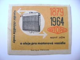 Czechoslovakia Matchbox Label 1964 - Autopal Novy Jicin Produces Water Coolers And Oil Motor Vehicles - Boites D'allumettes - Etiquettes