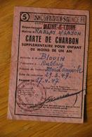 Rationnement - Carte De Charbon Maine-et-loire Rablay Sur Layon - Historical Documents