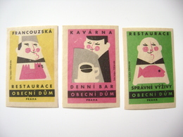 Czechoslovakia Series 3 Matchbox Label 1964 - Obecni Dum Praha - Daily Bar, French Restaurant, Restaurant Good Nutrition - Boites D'allumettes - Etiquettes
