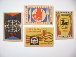 Czechoslovakia Series 4 Matchbox Label 1964 - Prague Hotels Restaurants: Cerny Kun,Solidarita,Slovansky Dum,Trilobit Bar - Boites D'allumettes - Etiquettes