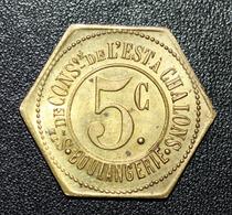 """Jeton De Nécessité """"5c Sté De Consommation De L'Est à Chalons (sur Marne)"""" Champagne - Emergency Token - Monétaires / De Nécessité"""