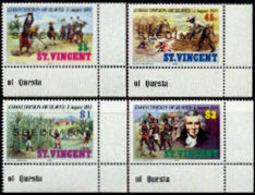 ST.VINCENT 1984 Slavery Plantage Sugar Palm Trees Agriculture SPECIMEN CORNER SET:4 Stamps - Agriculture