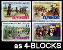 ST.VINCENT 1984 Slavery Plantage Sugar Palm Trees Agriculture SPECIMEN 4-BLOCKS:4 - Agriculture