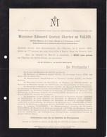 PARIS Edouard De VALOIS 77 Ans 1905 Rue De Rivoli 210 Lettre Mortuaire - Obituary Notices